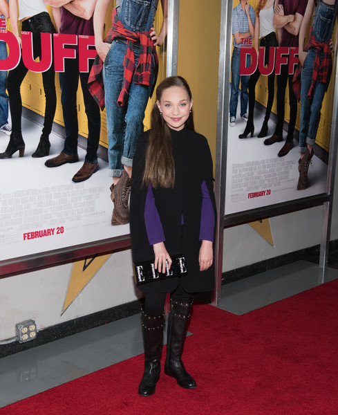 Maddie Ziegler Cape [the duff,red carpet,carpet,flooring,premiere,footwear,fashion,tights,riding boot,knee-high boot,event,maddie ziegler,new york,lincoln square,amc loews,new york premiere]