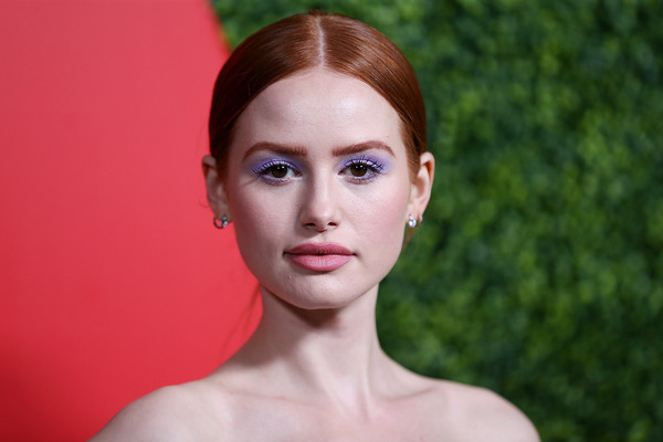 Madelaine Petsch Bright Eyeshadow [face,hair,lip,eyebrow,skin,beauty,chin,forehead,head,cheek,arrivals,madelaine petsch,beverly hills,california,benedict estate,gq men of the year party]