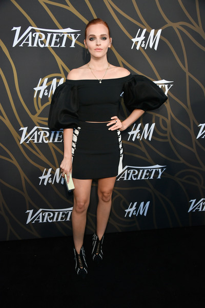 Madeline Brewer Lace Up Boots [clothing,shoulder,dress,little black dress,fashion,joint,footwear,fashion model,carpet,cocktail dress,variety power of young hollywood - arrivals,tao hollywood,los angeles,california,madeline brewer]
