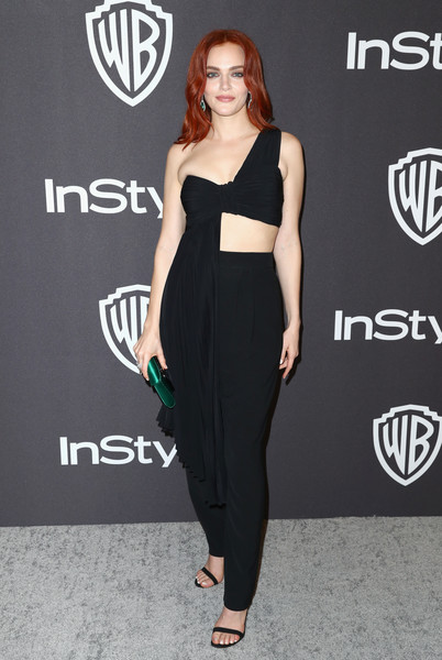 Madeline Brewer High-Waisted Pants [clothing,shoulder,dress,waist,carpet,fashion,fashion model,footwear,joint,red carpet,madeline brewer,beverly hills,california,the beverly hilton hotel,instyle,golden globes,warner bros.,arrivals,party]