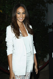 Joan Smalls opted for a classic feel with this stylish white blazer when she attended the 'Mademoiselle C' cocktail party.