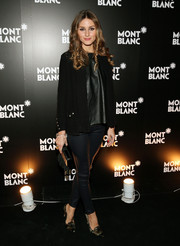 Olivia Palermo wore an all-black tweed jacket, leather top, and skinnies combo at the Montblanc Madison Avenue opening.