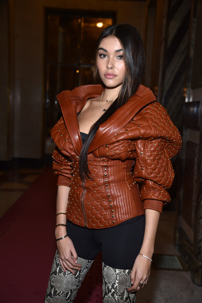 Madison Beer Diamond Bracelet [clothing,leather,jacket,fashion,beauty,leather jacket,lady,brown,shoulder,textile,madison beer,front row,part,balmain,paris,france,paris fashion week womenswear fall,show]