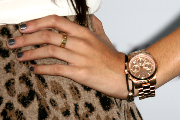 Madison Beer Gold Chronograph Watch [wrist,watch,nail,bracelet,hand,fashion accessory,jewellery,finger,beige,ring,madison beer,details,young hollywood party - arrivals,los angeles,california,teen vogue,young hollywood,party]