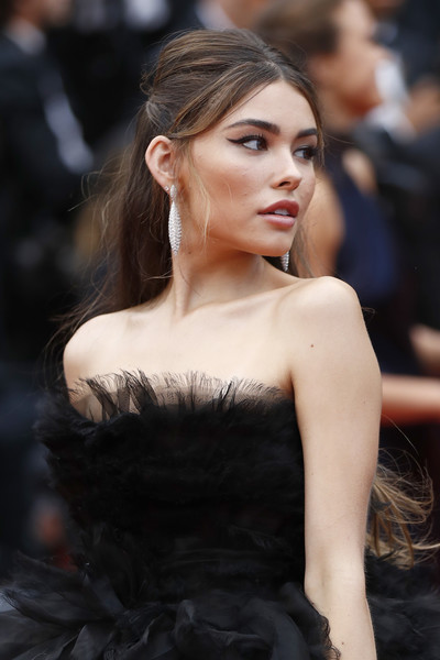 Madison Beer Dangling Diamond Earrings [hair,fashion model,fashion,hairstyle,lip,haute couture,beauty,long hair,shoulder,lady,madison beer,dolor y gloria,douleur et glorie,screening,cannes,france,red carpet,the 72nd annual cannes film festival]