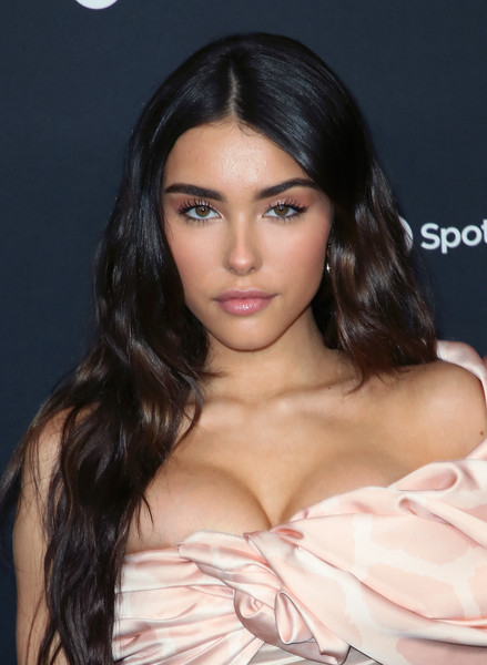 Madison Beer Long Wavy Cut [hair,face,hairstyle,eyebrow,lip,black hair,beauty,chin,long hair,skin,spotify,party - arrivals,best new artist,madison beer,california,los angeles,the lot studios,best new artist 2020 party,madison beer,2020,lunar new year,spotify,artist,actor,grammy awards,grammy award for best new artist]