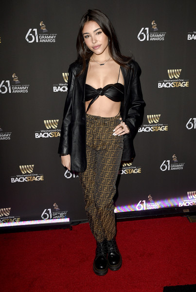 Madison Beer Leather Jacket [westwood one radio roundtables,clothing,carpet,red carpet,dress,shoulder,joint,flooring,premiere,fashion model,long hair,madison beer,grammy awards,california,los angeles,lexus lounge,annual grammy awards]