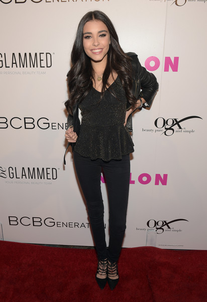 Madison Beer Peplum Top [clothing,shoulder,pink,fashion,footwear,joint,lip,outerwear,shoe,long hair,madison beer,nylon,west hollywood,california,young hollywood party,bcbgeneration,hyde sunset: kitchen cocktails]