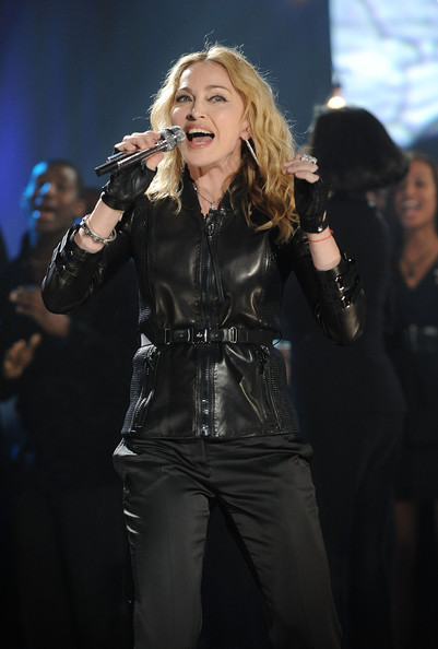 Madonna Fingerless Gloves [hope for haiti now: a global benefit for earthquake relief,handout photo,performance,music artist,singer,singing,event,entertainment,performing arts,pop music,stage,concert,madonna,new york,borough,queens,mtv,kaufman studios]
