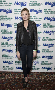 Laura Carmichael went for a tough finish with a black leather biker jacket.