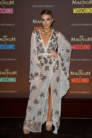 Tallia Storm was beach-glam in an embellished white wrap gown at the Magnum party during the Cannes Film Festival.