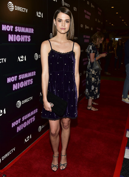 Maia Mitchell Studded Heels [hot summer nights,red carpet,clothing,carpet,dress,cocktail dress,premiere,fashion,fashion model,little black dress,flooring,red carpet,maia mitchell,california,los angeles,pacific theatres,the grove,a24,screening,screening]