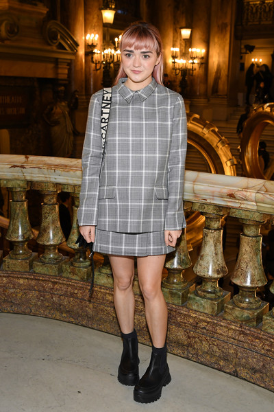 Maisie Williams Motorcycle Boots [fashion model,clothing,fashion,plaid,snapshot,tartan,street fashion,leg,footwear,pattern,stella mccartney,maisie williams,actor,front row,fashion,part,fashion week,street fashion,paris,paris fashion week womenswear fall,maisie williams,arya stark,game of thrones,paris fashion week,fashion,fashion week,actor,fashion show,celebrity]