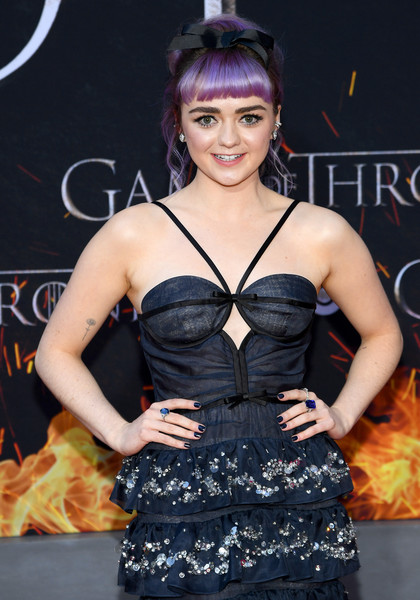 Maisie Williams Gemstone Ring [game of thrones,season,clothing,fashion model,hairstyle,dress,fashion,black hair,premiere,muscle,event,long hair,maisie williams,new york city,premiere]