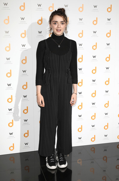 Maisie Williams Jumpsuit [clothing,dress,fashion,fashion model,formal wear,flooring,fashion design,little black dress,neck,suit,maisie williams,launch party,daisie,w london,england,leicester square]