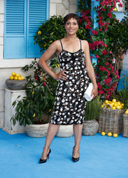 Cush Jumbo opted for a flower-appliqued lace slip dress when she attended the UK premiere of 'Mamma Mia! Here We Go Again.'