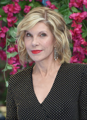 Christine Baranski attended the world premiere of 'Mamma Mia! Here We Go Again' wearing her hair in a short wavy cut.