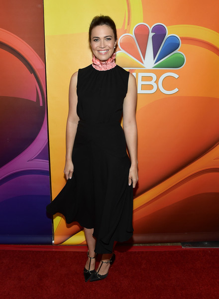 Mandy Moore Midi Dress [red carpet,dress,carpet,clothing,yellow,cocktail dress,little black dress,fashion,premiere,flooring,arrivals,mandy moore,beverly hills,california,the beverly hilton hotel,nbc,summer tca tour,press tour,nbcuniversal summer tca press tour]