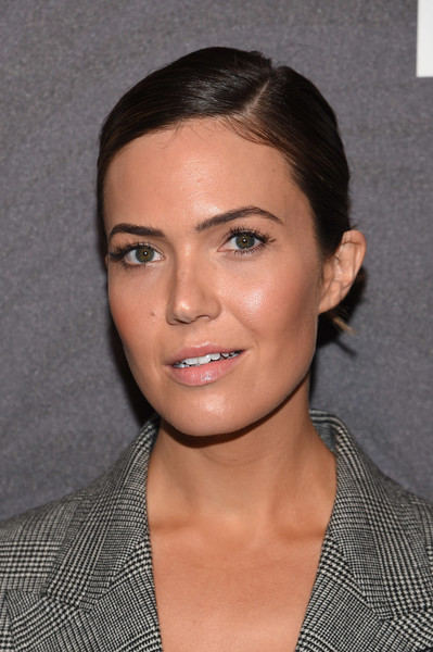 Mandy Moore Classic Bun [hair,face,eyebrow,hairstyle,chin,lip,forehead,cheek,black hair,neck,arrivals,mandy moore,new york city,the bowery hotel,people new york,entertainment weekly,people new york,this is us,celebration]