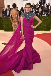 Keltie Knight looked like an extremely glamorous superhero at the Met Gala in a fuchsia Christian Siriano mermaid gown with a heavily embellished yoke and a flowing cape.