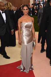 Misty Copeland slipped into an elegant champagne-hued strapless gown for her Met Gala look.