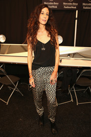 Mara Hoffman rocked a pair of black-and-white checkered harem pants during her fashion show.