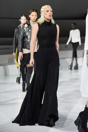 Lady Gaga rehearsed for the Marc Jacobs fashion show looking oh-so-chic in a super-flared black jumpsuit.