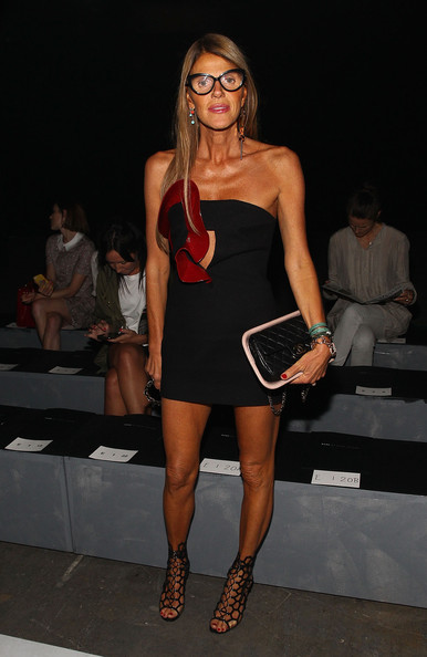 """For her arm candy, Anna dello Russo chose a quirky-chic Chanel """"meat"""" bag."""