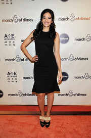 Edy Ganem stuck to a classic look with this sleeveless LBD featuring a fluted hem when she attended the March of Dimes celebration of Babies Luncheon.