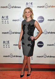 Reese Witherspoon looked timeless in a lace-embellished gray sheath by Diane von Furstenberg at the March of Dimes celebration of Babies Luncheon.