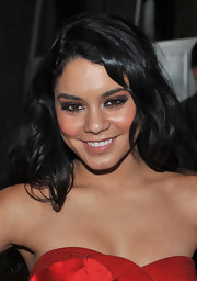 Vanessa Hudgens looked dramatic at Mercedes Benz Fashion Week with charcoal smoky eyes.