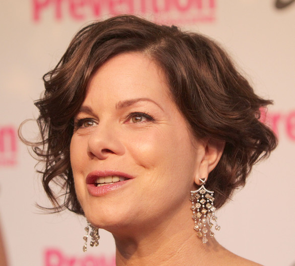 Marcia Gay Harden Diamond Chandelier Earrings [hair,face,eyebrow,hairstyle,chin,facial expression,forehead,lip,nose,skin,marcia gay harden,montage hotel beverly hills,california,prevention magazine,1st annual hollywood heroes soiree,hollywood heros soiree]