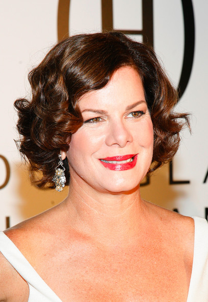Marcia Gay Harden Sterling Dangle Earrings [mbfw,hair,face,hairstyle,eyebrow,lip,chin,beauty,forehead,skin,brown hair,douglas hannant - presentation,marcia gay harden,new york new york,the plaza hotel,douglas hannant 2010 spring collection presentation]