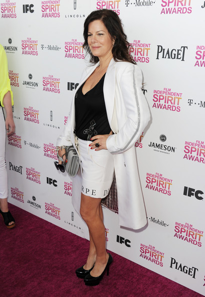 Marcia Gay Harden Platform Pumps [red carpet,clothing,suit,red carpet,carpet,hairstyle,outerwear,shoulder,cocktail dress,dress,formal wear,marcia gay harden,film independent spirit awards,santa monica beach,california]