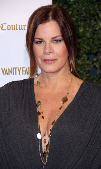 Marcia Gay Harden Layered Gemstone Necklace [hair,hairstyle,eyebrow,chin,lip,brown hair,layered hair,long hair,blond,premiere,vanity fair,siren studios,juicy couture ``vanities,california,hollywood,marcia gay harden]