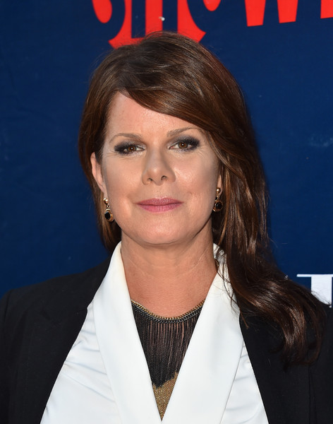 Marcia Gay Harden Long Wavy Cut with Bangs [hair,hairstyle,forehead,layered hair,premiere,brown hair,long hair,bangs,official,arrivals,marcia gay harden,west hollywood,california,pacific design center,cbs,cw,party,showtime 2015 summer tca,summer tca]