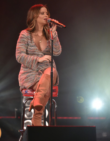 Maren Morris Knee High Boots [performance,entertainment,music,musician,music artist,performing arts,singing,singer,microphone stand,microphone,ram trucks,maren morris,stars,stage,strings,radio.com,fox theatre,strings 2019 - show,\u0153stars,event]