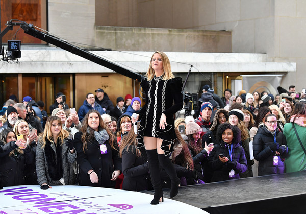 Maren Morris Over the Knee Boots [maren morris performs,fashion,event,runway,fashion show,performance,fashion design,performance art,street fashion,model,crowd,maren morris,new york city,rockefeller plaza,nbc]