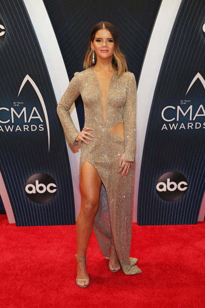 Maren Morris Cutout Dress [red carpet,carpet,clothing,flooring,dress,fashion,muscle,shoulder,leg,footwear,cma awards,room,nashville,tennessee,bridgestone arena,maren morris]