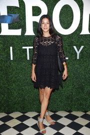 Rebecca Minkoff finished off her outfit with a pair of studded ankle-cuff sandals.