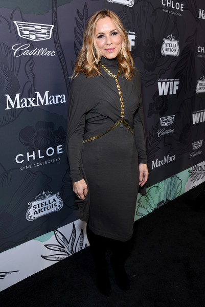 Maria Bello Sweater Dress [clothing,dress,little black dress,premiere,fashion,cocktail dress,outerwear,carpet,suit,formal wear,12th annual women in film oscar nominees party,stella artois,max mara with additional support from chloe wine collection,maria bello,support,spring place,los angeles,cadillac,red carpet,max mara]