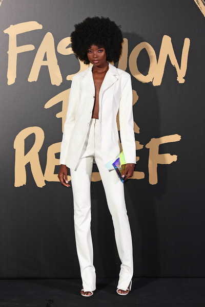 Maria Borges Pantsuit [red carpet arrivals - fashion for relief london,clothing,blazer,suit,fashion,outerwear,cool,formal wear,afro,jacket,footwear,london,england,british museum,maria borges]