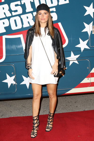 Maria Menounos Leather Jacket [clothing,red carpet,carpet,street fashion,fashion,footwear,fashion model,electric blue,dress,premiere,maria menounos,barstool party,houston,texas,the barstool party]