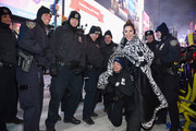Maria Menounos bundled up in luxe style with a zebra-patterned fur coat for her 'Live from Times Square' show.