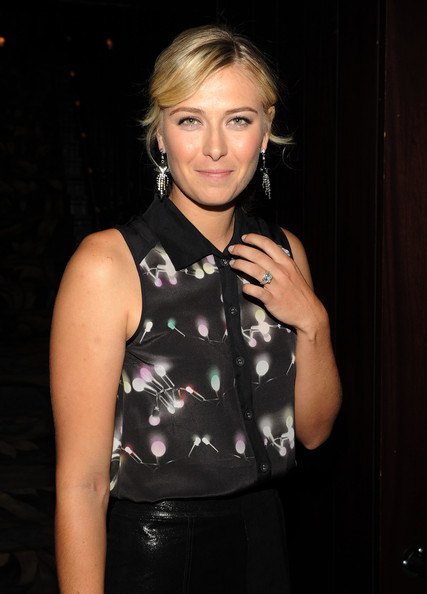Maria Sharapova Diamond Ring [due date,blond,fashion,textile,performance,maria sharapova,lavo,new york city,the cinema society dkny jeans,screening,party,cinema society dkny jeans host a screening of ``due date]