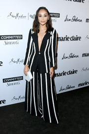 Cara Santana turned heads in a striped, wide-leg pantsuit by John Paul Ataker at the 2018 Marie Claire Fresh Faces event.