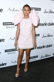 Yara Shahidi sealed off her head-turning look with silver ankle-strap sandals by Jimmy Choo.