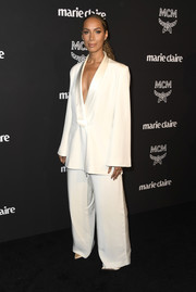 Leona Lewis sported an oversized white suit by Ong Oaj Pairam at the Marie Claire Change Makers celebration.
