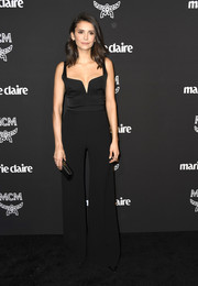 Nina Dobrev chose a black wide-leg jumpsuit by Galvan for the Marie Claire Change Makers celebration.
