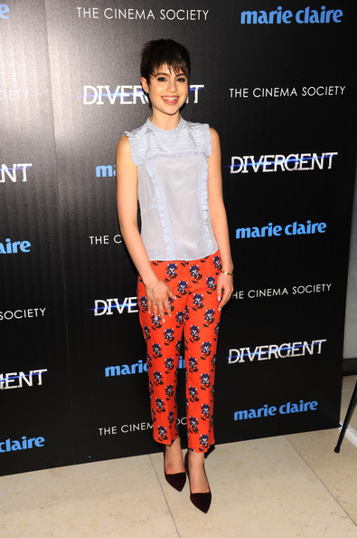 Sami Gayle kept it youthful in a light blue ruffle blouse during the 'Divergent' screening in NYC.